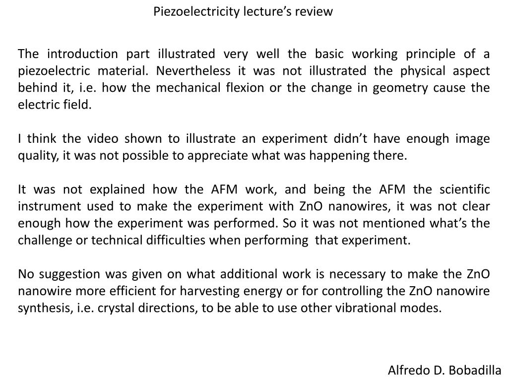 Piezoelectricity lecture's review