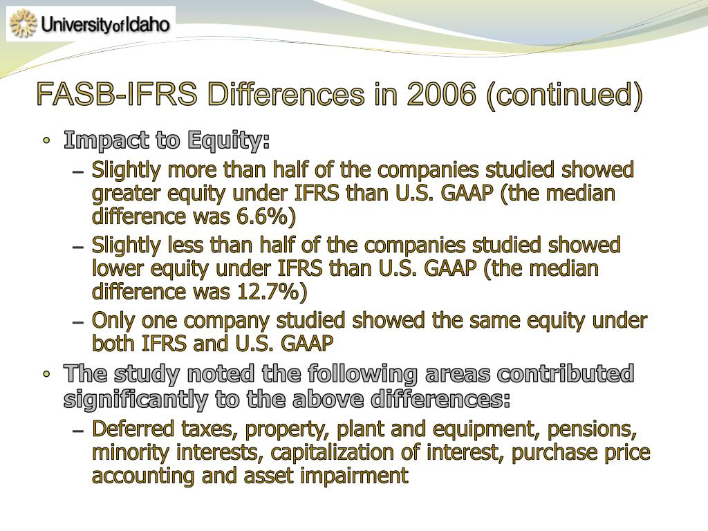FASB-IFRS Differences in 2006 (continued)
