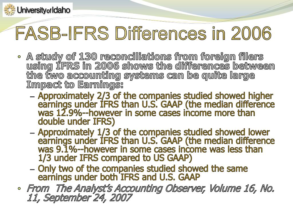 FASB-IFRS Differences in 2006