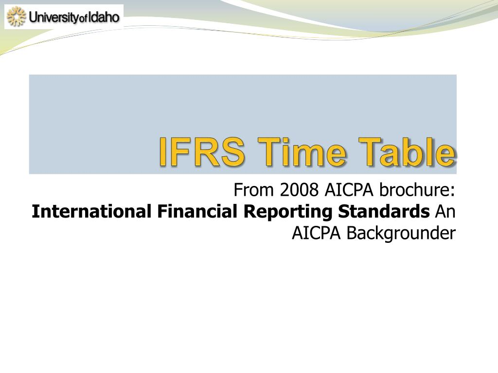 IFRS Time Table