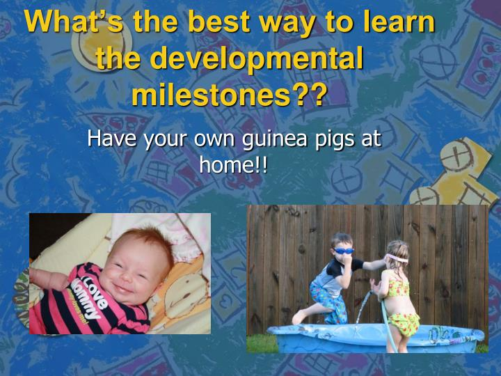 What s the best way to learn the developmental milestones