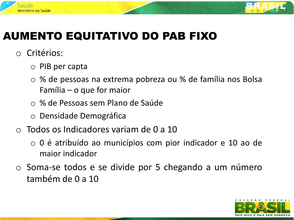 AUMENTO EQUITATIVO DO PAB FIXO