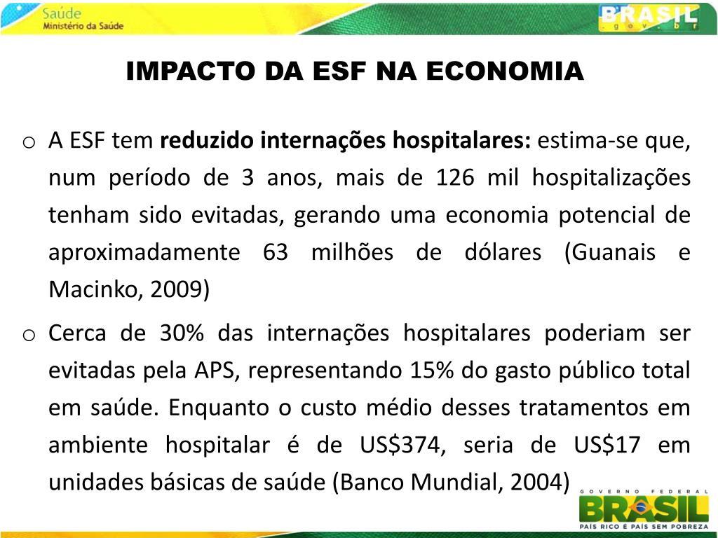 IMPACTO DA ESF NA ECONOMIA