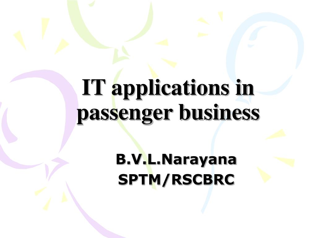 it applications in passenger business l.