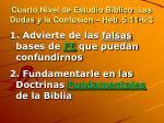 cuarto nivel de estudio biblico las dudas y la confusion heb 5 11 6 3