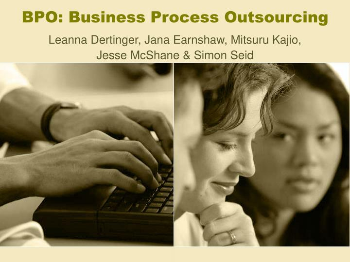 bpo business process outsourcing n.