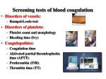 screening tests of blood coagulation