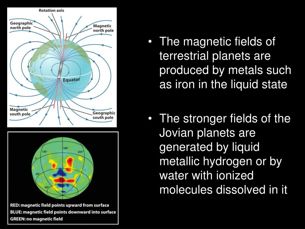 The magnetic fields of terrestrial planets are produced by metals such as iron in the liquid state