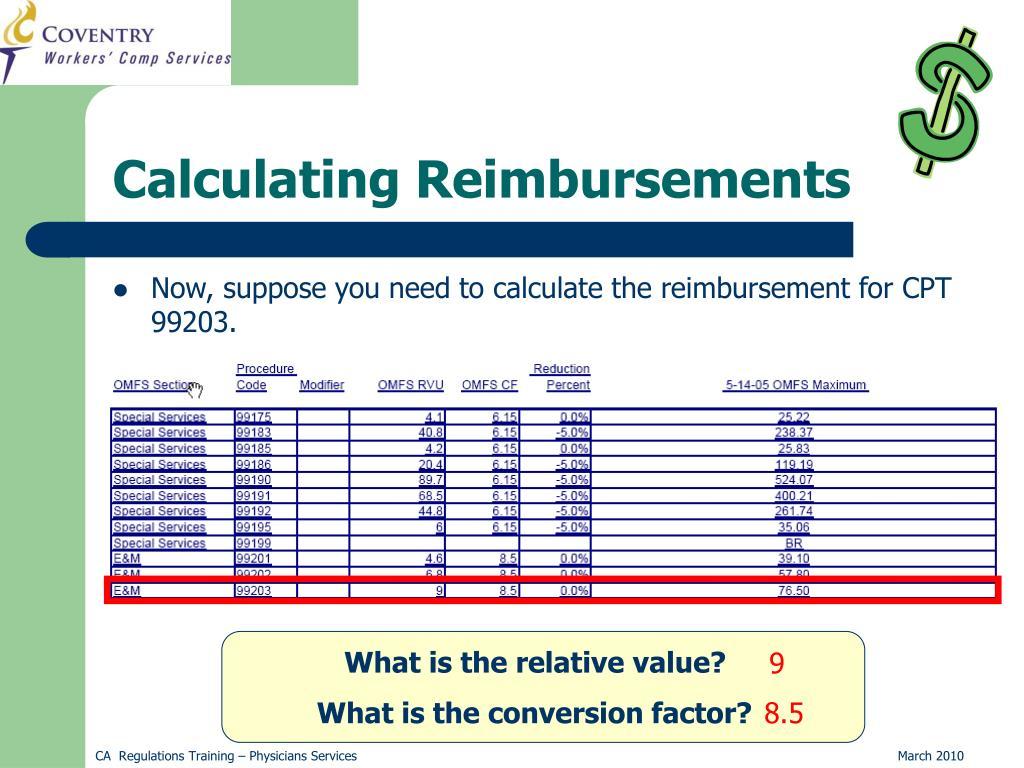 Calculating Reimbursements