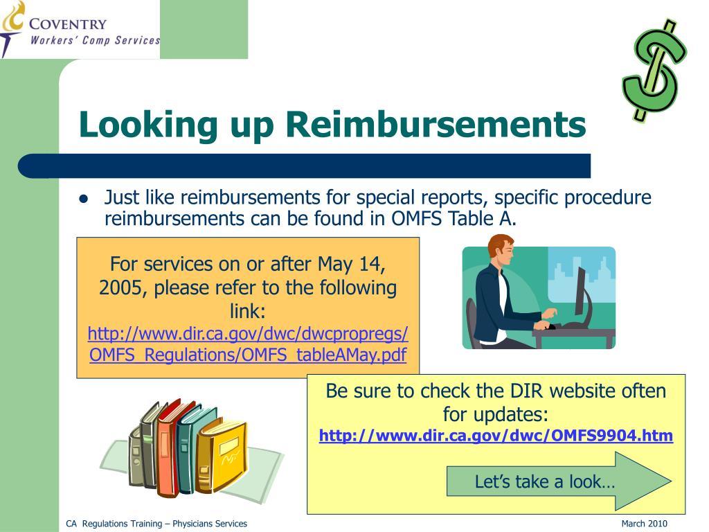 Looking up Reimbursements
