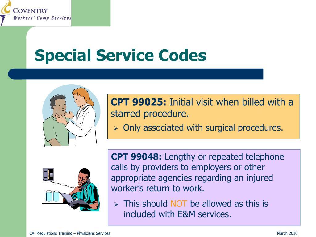 Special Service Codes