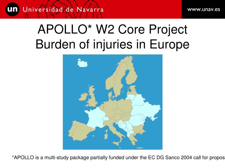 apollo w2 core project burden of injuries in europe n.