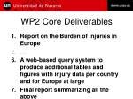 wp2 core deliverables