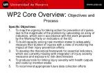 wp2 core overview objectives and process