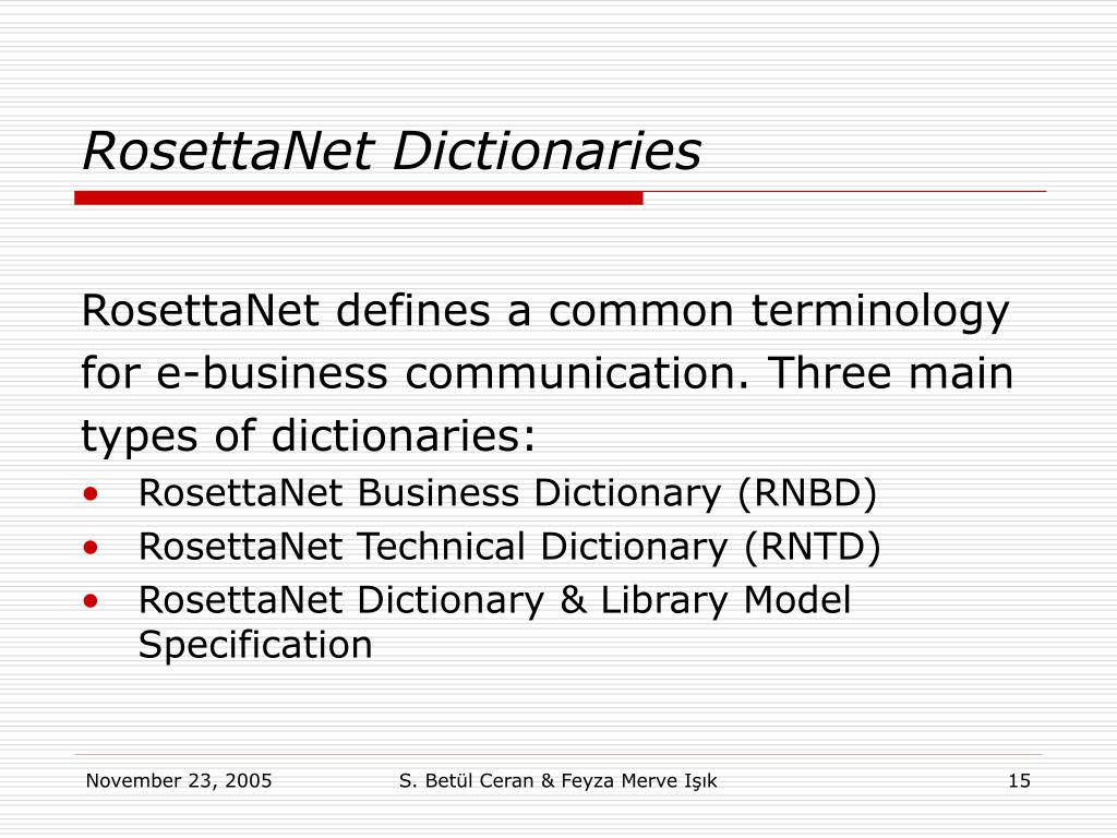 RosettaNet Dictionaries