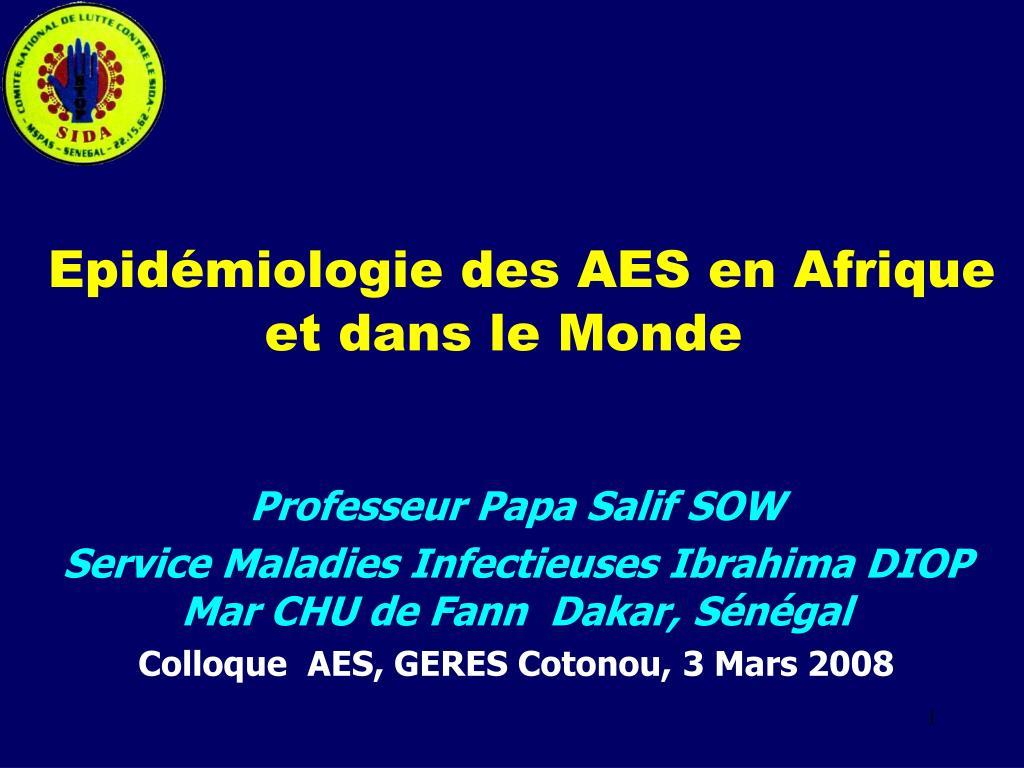 epid miologie des aes en afrique et dans le monde l.