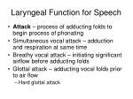 laryngeal function for speech