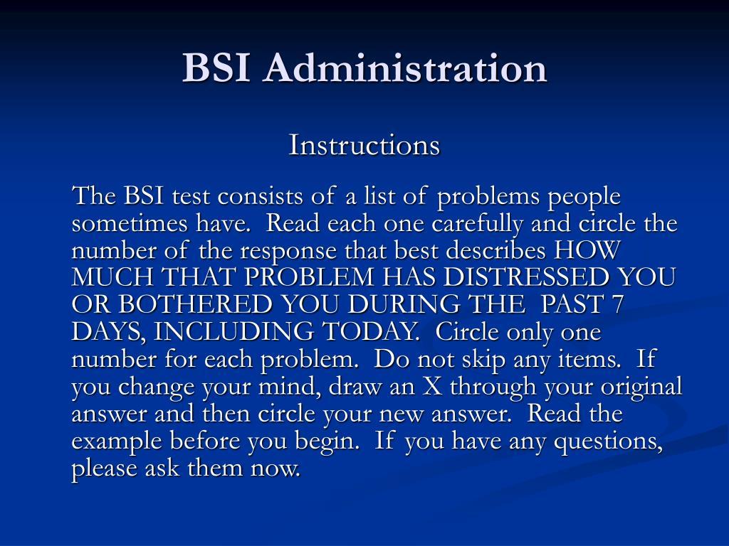 BSI Administration