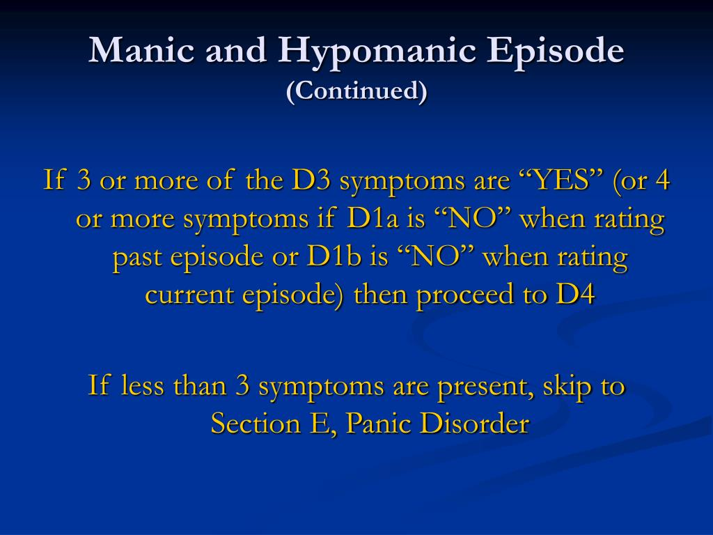 Manic and Hypomanic Episode
