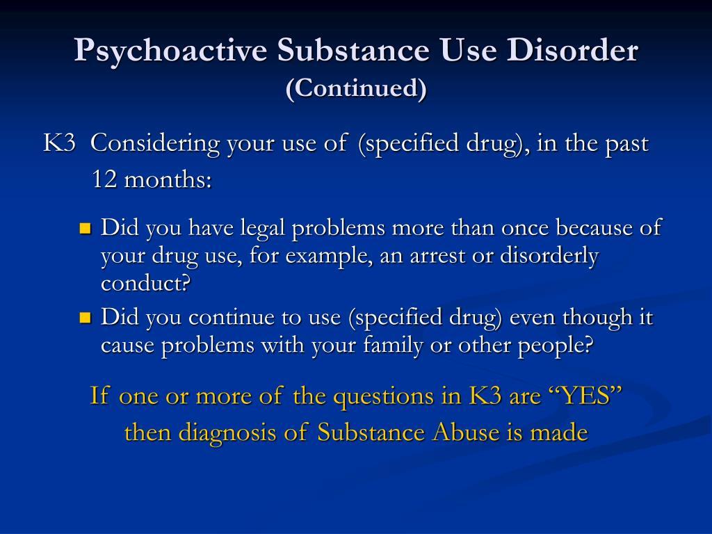 Psychoactive Substance Use Disorder
