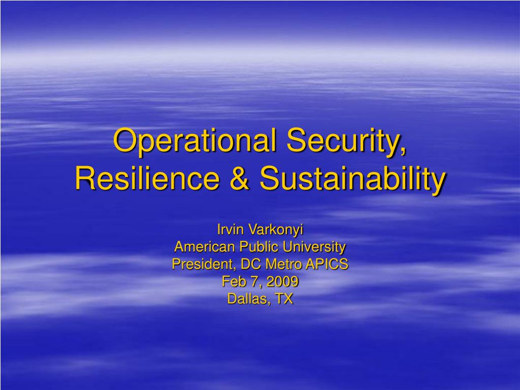 operational security resilience sustainability l.