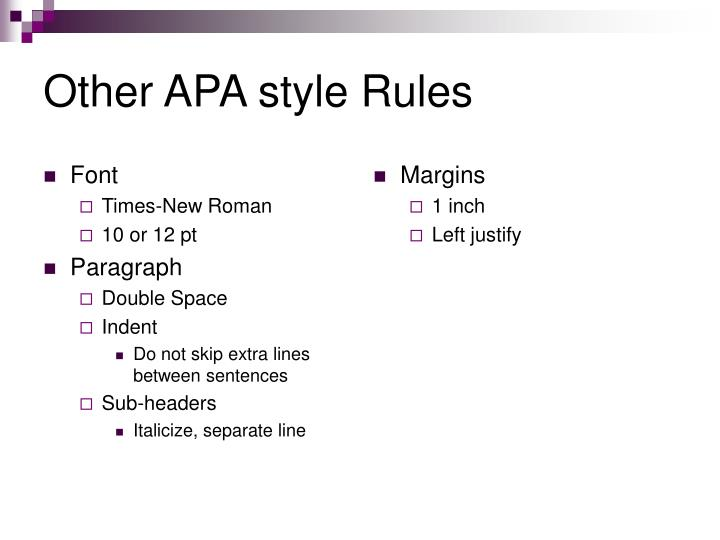Other apa style rules