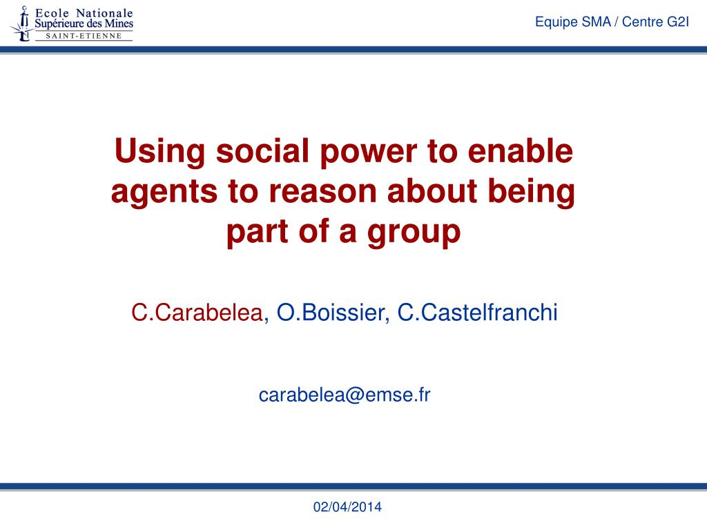 using social power to enable agents to reason about being part of a group l.