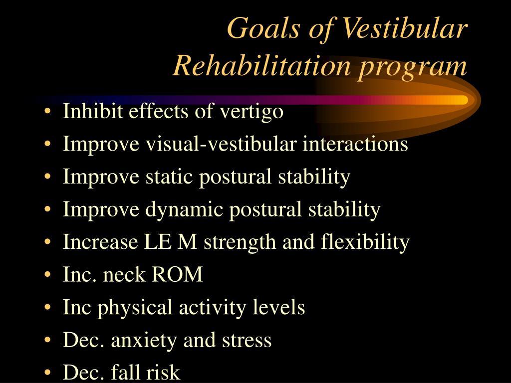 Goals of Vestibular Rehabilitation program