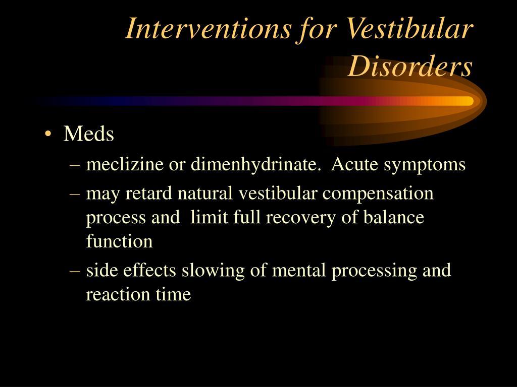 Interventions for Vestibular Disorders