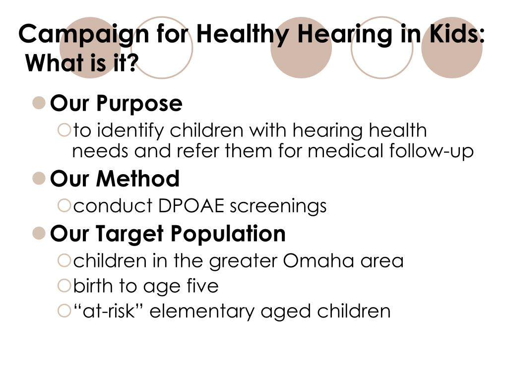 Campaign for Healthy Hearing in Kids: