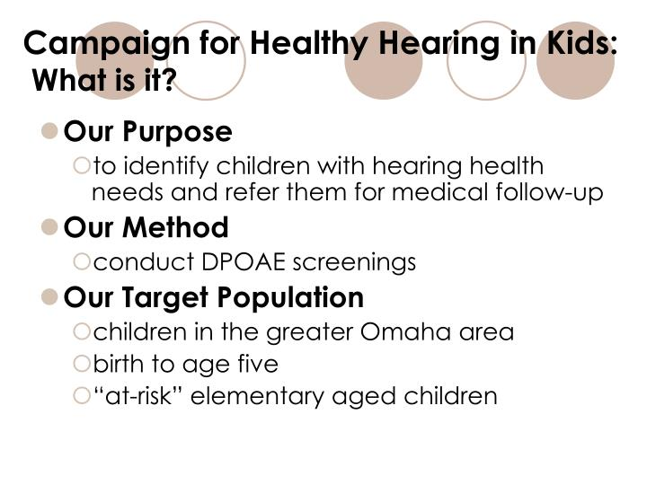 Campaign for healthy hearing in kids what is it