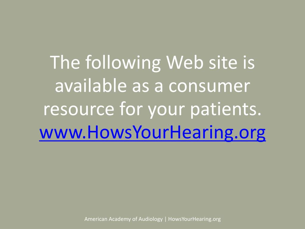 The following Web site is available as a consumer resource for your patients.