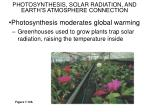 photosynthesis solar radiation and earth s atmosphere connection
