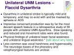unilateral unm lesions flaccid dysarthria