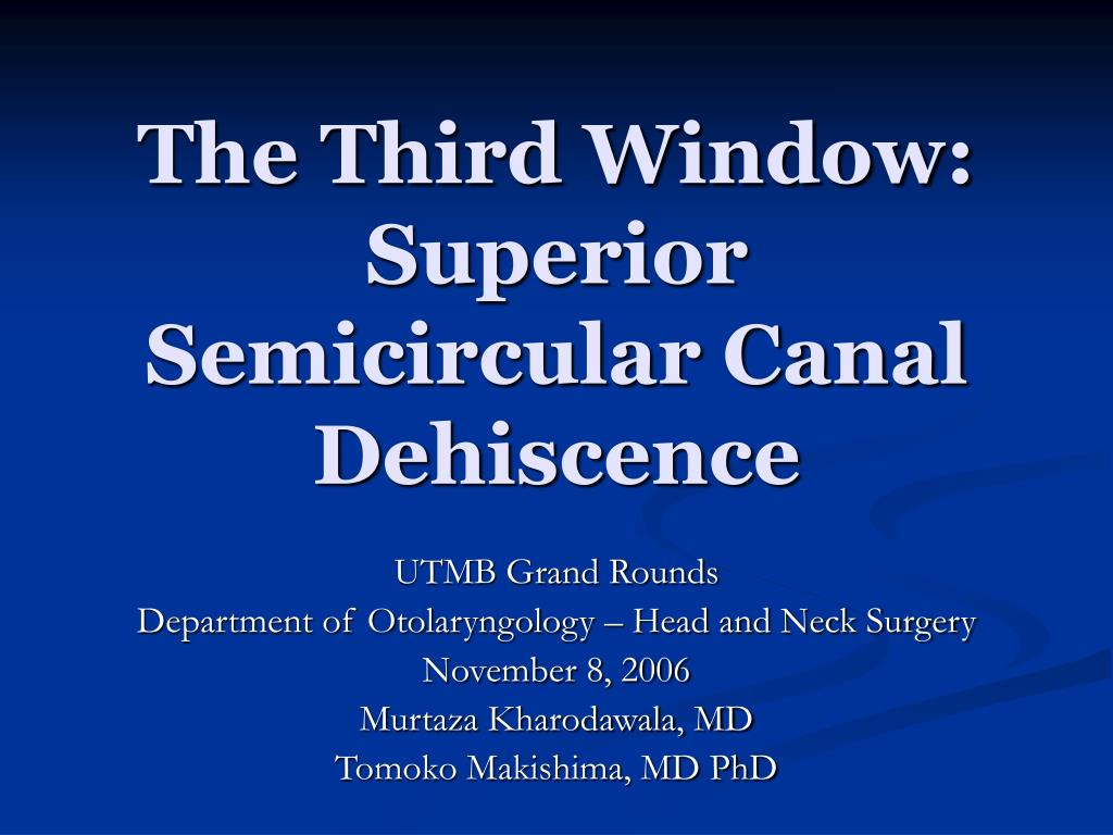 the third window superior semicircular canal dehiscence l.