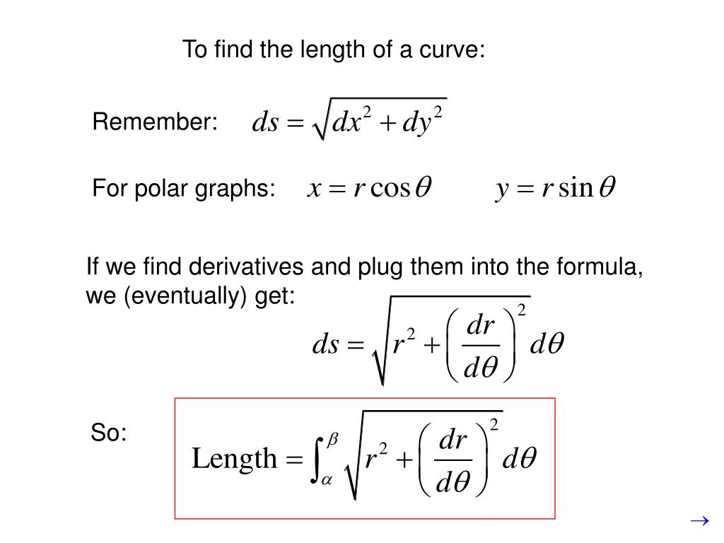 To find the length of a curve: