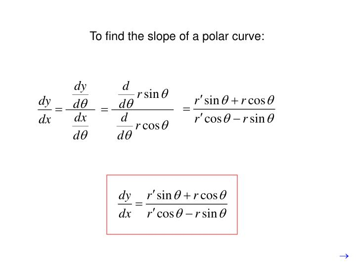 To find the slope of a polar curve: