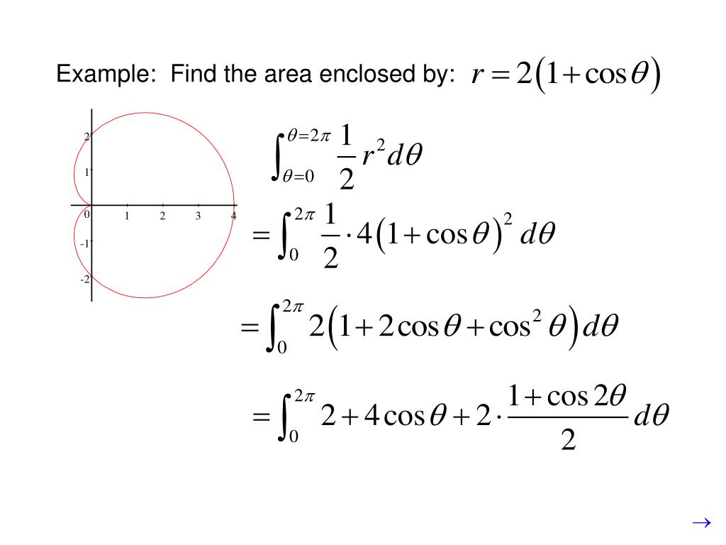Example:  Find the area enclosed by: