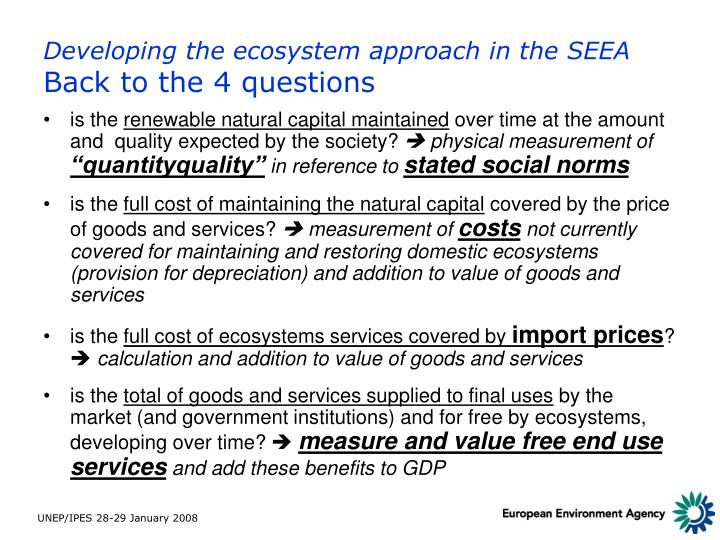 Developing the ecosystem approach in the SEEA
