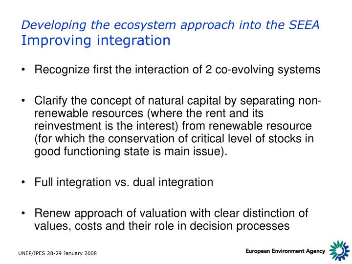 Developing the ecosystem approach into the SEEA