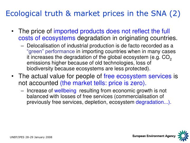 Ecological truth & market prices in the SNA (2)