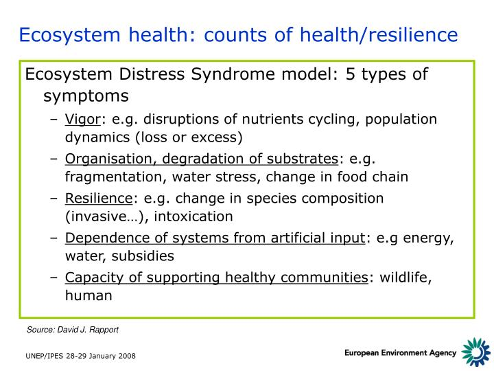 Ecosystem health: counts of health/resilience