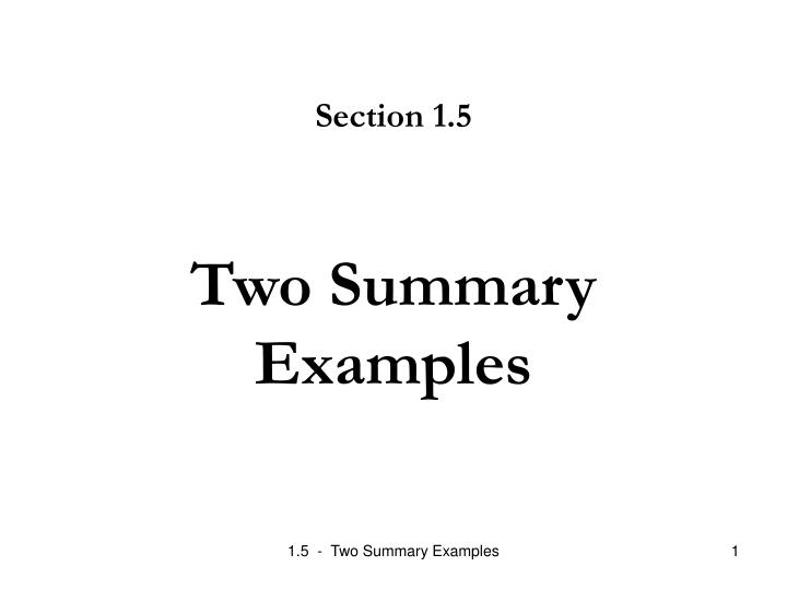 two summary examples n.
