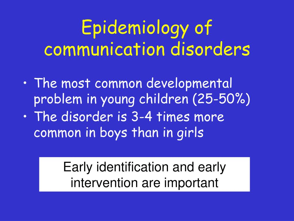Epidemiology of communication disorders