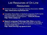 list resources of on line resources