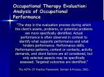 occupational therapy evaluation analysis of occupational performance