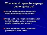 what else do speech language pathologists do
