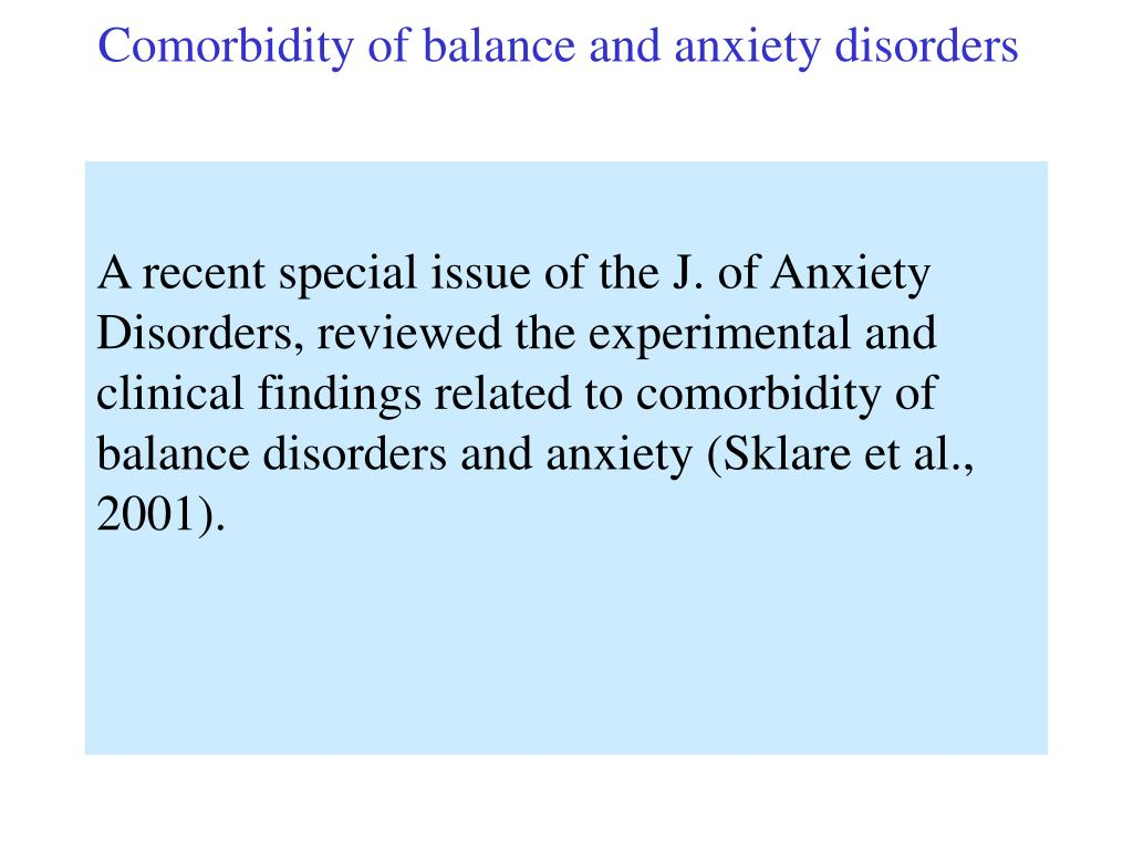 Comorbidity of balance and anxiety disorders