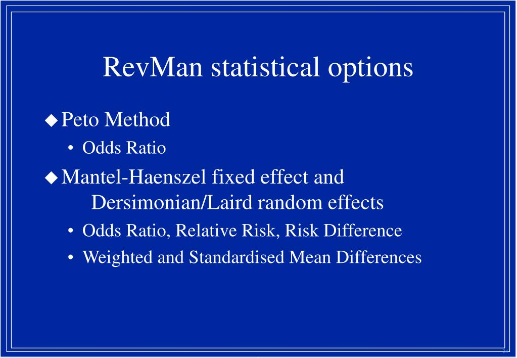 RevMan statistical options