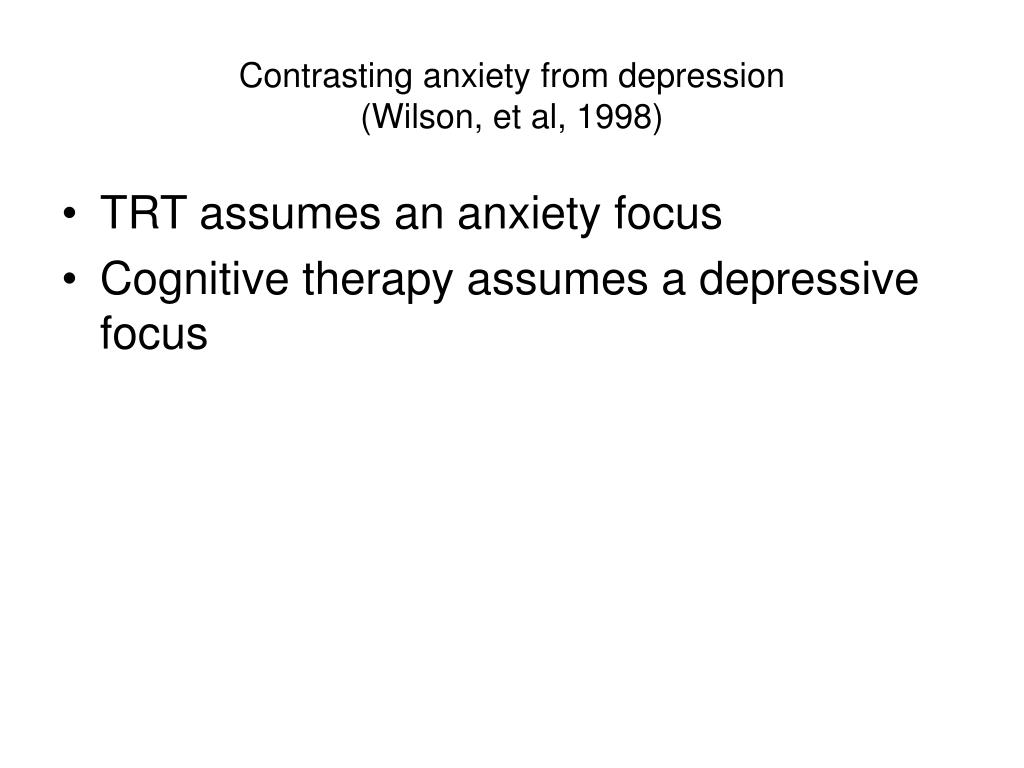 Contrasting anxiety from depression